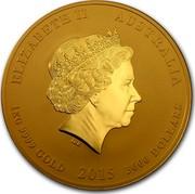 Australia 3000 Dollars Year of the Goat 2015 ELIZABETH II AUSTRALIA 1 KG 9999 GOLD 2015 3000 DOLLARS IRB coin obverse