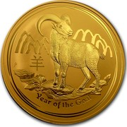 Australia 3000 Dollars Year of the Goat 2015 YEAR OF THE GOAT P NM coin reverse