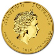 Australia 3000 Dollars Year of the Monkey 2016 ELIZABETH II AUSTRALIA 1 KG 9999 GOLD 2016 3000 DOLLARS IRB coin obverse