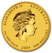 Australia 3000 Dollars Year of the Ox 2009 ELIZABETH II AUSTRALIA 1 KG 9999 GOLD 2009 3000 DOLLARS IRB coin obverse