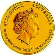 Australia 30000 Dollars Year of the Mouse 2008 ELIZABETH II AUSTRALIA 10 KILO 9999 GOLD 2008 30000 DOLLARS IRB coin obverse