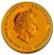 Australia 30000 Dollars Year of the Tiger 2010 ELIZABETH II AUSTRALIA 10 KILO 9999 GOLD 2010 30000 DOLLARS IRB coin obverse