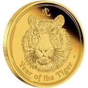 Australia 30000 Dollars Year of the Tiger 2010 YEAR OF THE TIGER P coin reverse