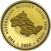 Australia 4 Dollars The Australian Gold Nugget 2005 THE AUSTRALIAN NUGGET 1/25 OZ. 9999 GOLD 2005 P coin reverse