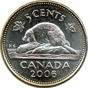 Canada 5 Cents Beaver 2006 KM# 491b 5 CENTS CANADA 2006 K ∙ G coin reverse