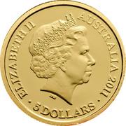 Australia 5 Dollars Coal Mines Historic Site 2011 KM# 1640 ELIZABETH II AUSTRALIA 2011 5 DOLLARS coin obverse