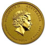 Australia 5 Dollars Galloping Horse 2014 ELIZABETH II AUSTRALIA 1/20 OZ 9999 GOLD 2014 5 DOLLARS IRB coin obverse