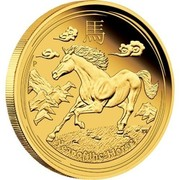 Australia 5 Dollars Galloping Horse 2014 YEAR OF THE HORSE P TV coin reverse