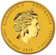 Australia 5 Dollars Galloping Horse (Colorized) 2014 ELIZABETH II AUSTRALIA 1/20 OZ 9999 GOLD 2014 5 DOLLARS IRB coin obverse