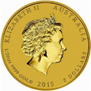 Australia 5 Dollars Lunar Goat (Colorized) 2015 ELIZABETH II AUSTRALIA 1/20 OZ 9999 GOLD 2015 5 DOLLARS IRB coin obverse