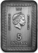 Australia 5 Dollars Magna Carta 2015 KM# 2199 ELIZABETH II 2015 AUSTRALIA 5 DOLLARS IRB coin obverse