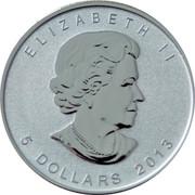 Canada 5 Dollars Maple Leaf 2013 Snake Privy KM# 625a ELIZABETH II YEAR D G REGINA 5 DOLLARS SB coin obverse