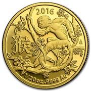 Australia 5 Dollars Monkey 2016 2016 1/20 OZ .9999 AU coin reverse