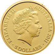 Australia 5 Dollars Old Government House 2011 KM# 1641 ELIZABETH II AUSTRALIA 2011 5 DOLLARS coin obverse