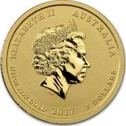 Australia 5 Dollars Rooster 2017 ELIZABETH II AUSTRALIA 1/20 OZ 9999 GOLD 2017 5 DOLLARS IRB coin obverse