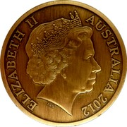 Australia 5 Dollars Sydney Town Hall 2012 ELIZABETH II AUSTRALIA 2012 coin obverse