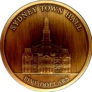 Australia 5 Dollars Sydney Town Hall 2012 SYDNEY TOWN HALL 5 DOLLARS coin reverse