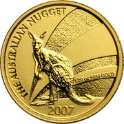 Australia 5 Dollars The Australian Nugget 2007 THE AUSTRALIAN NUGGET 1/20 OZ 9999 GOLD 2007 JG coin reverse