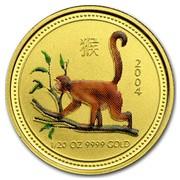 Australia 5 Dollars The Monkey (Colorized) 2004 2004 1/20 OZ 9999 GOLD coin reverse