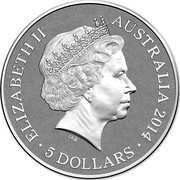 Australia 5 Dollars Victoria Cross For Australia 2014 KM# 2186 ELIZABETH II AUSTRALIA 2014 5 DOLLARS IRB coin obverse