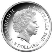 Australia 5 Dollars VOC Batavia - Drama On The High Seas 2015  ELIZABETH II AUSTRALIA 2015 5 DOLLARS IRB coin obverse