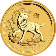 Australia 5 Dollars Year of the Dog 2018 YEAR OF THE DOG P IJ coin reverse