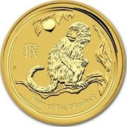 Australia 5 Dollars Year of the Monkey 2016 YEAR OF THE MONKEY P IJ coin reverse