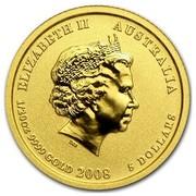 Australia 5 Dollars Year of the Mouse 2008 ELIZABETH II AUSTRALIA 1/20 OZ 9999 GOLD 2008 5 DOLLARS IRB coin obverse
