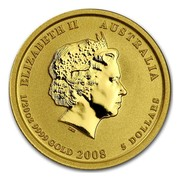 Australia 5 Dollars Year of the Mouse (Colorized) 2008 ELIZABETH II AUSTRALIA 1/20 OZ 9999 GOLD 2008 5 DOLLARS IRB coin obverse