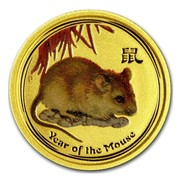 Australia 5 Dollars Year of the Mouse (Colorized) 2008 YEAR OF THE MOUSE P coin reverse