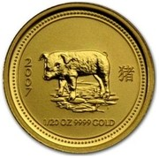 Australia 5 Dollars Year of the Pig 2007 2007 1/20 OZ 9999 GOLD coin reverse