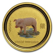 Australia 5 Dollars Year of the Pig (Colorized) 2007 2007 1/20 OZ 9999 GOLD coin reverse