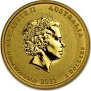 Australia 5 Dollars Year of the Rabbit (Colorized) 2011 ELIZABETH II AUSTRALIA 1/20 OZ 9999 GOLD 2011 5 DOLLARS IRB coin obverse