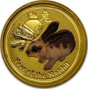 Australia 5 Dollars Year of the Rabbit (Colorized) 2011 YEAR OF THE RABBIT P coin reverse