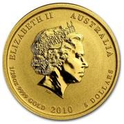Australia 5 Dollars Year of the Tiger 2010 ELIZABETH II AUSTRALIA 1/20 OZ 9999 GOLD 2010 5 DOLLARS IRB coin obverse