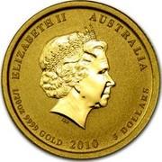 Australia 5 Dollars Year of the Tiger (Colorized) 2010 ELIZABETH II AUSTRALIA 1/2OZ 9999 GOLD 2010 5 DOLLARS IRB coin obverse