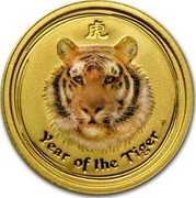 Australia 5 Dollars Year of the Tiger (Colorized) 2010 YEAR OF THE TIGER P coin reverse