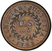 USA 5 Units 1783 KM# EA12 Nova Constellatio • LIBERTAS • JUSTITIA • U.S ...5 coin reverse