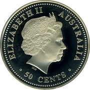 Australia 50 Cents Bronze Lunar Rooster 2005 Perth Mint KM# 814a ELIZABETH II AUSTRALIA 50 CENTS coin obverse