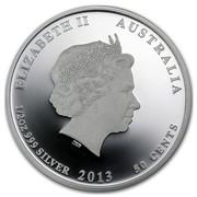 Australia 50 Cents Bush Babies Echidna 2013 ELIZABETH II AUSTRALIA 1/2 OZ 999 SILVER 2013 50 CENTS IRB coin obverse