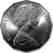 Australia 50 Cents Coat of Arms - Mule 1977 KM# 68a ELIZABETH II AUSTRALIA 1977 coin obverse