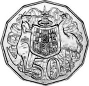 Australia 50 Cents Coat of Arms - Mule 1977 KM# 68a 50 SD coin reverse