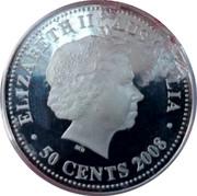 Australia 50 Cents Lunar Tiger 2008 ELIZABETH II AUSTRALIA 50 CENTS coin obverse