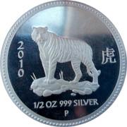 Australia 50 Cents Lunar Tiger 2008 2010 1/2 OZ 999 SILVER P coin reverse