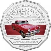 Australia 50 Cents Mainline Utility 2017 FORD AUSTRALIAN CLASSICS 8 CYLINDER MAINLINE UTILITY 1952-1959 50 coin reverse