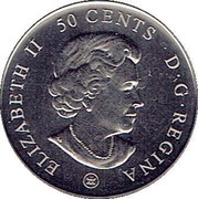 Canada 50 Cents Montreal Canadiens Centennial 2009  ELIZABETH II 50 CENTS D.G. REGINA coin obverse