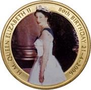 Australia 50 Cents The Queen's 80th Birthday 2006 H.M. QUEEN ELIZABETH II 80TH BIRTHDAY 21-4-2006 coin reverse