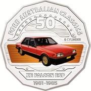 Australia 50 Cents XE Falcon ESP 2017 FORD AUSTRALIAN CLASSICS 50 6 CYLINDER XE FALCON 1981-1985 coin reverse