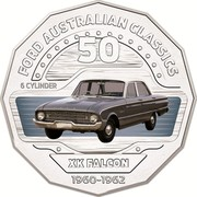 Australia 50 Cents XK Falcon 2017 FORD AUSTRALIAN CLASSICS 50 6 CYLINDER XK FALCON 1960-1962 coin reverse