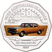 Australia 50 Cents XR Falcon GT 2017 FORD AUSTRALIAN CLASSICS 50 8 CYLINDER XR FALCON GT 1967 coin reverse